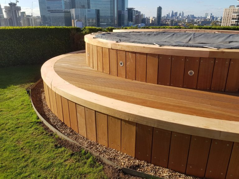 Roof terrace hot tub decking